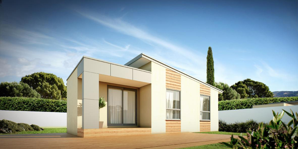 studio modular home design render angle